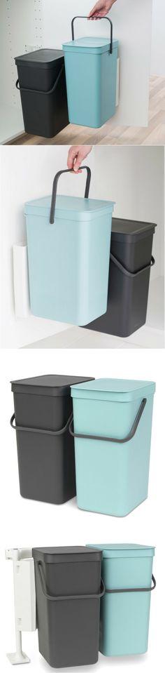 """Une poubelle de tri fonctionnelle et """"gain de place"""" pour les petites cuisines. Poubelle de tri en plastique 2x16L 36x50x46cm bleu/gris Sort&Go Brabantia."""