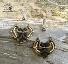 Handmade macramé hoop earrings  Urban festival by byLaughingBuddha