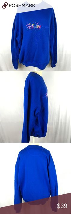 eb8362d9867151 Vintage 90s sweatshirt walt disney world blue crew Mickey Inc vintage 1990s  sweatshirt