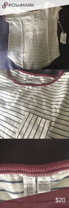 Brand New Cream Striped Element T-shirt This is a brand new, never worn, striped t shirt from Element. It is size small and still has the tags. It's perfect for summer! It's too small for me unfortunately. Element Tops Tees - Short Sleeve