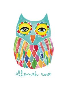 Watercolor Rainbow Owl Children's Custom Art Print by Pip Gerard | Minted