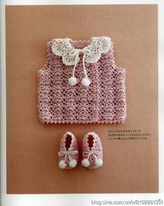 Crochê Tricô - Gráficos: Vestido, Colete e Gola para Bebê