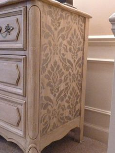 DIY Painted Dresser: This stencil on the side just adds to the charming character of the actual dresser itself! Home DIY. Home craft. Refurbished Furniture, Paint Furniture, Repurposed Furniture, Furniture Projects, Furniture Making, Furniture Makeover, Antique Furniture, Wooden Furniture, Wallpaper Furniture