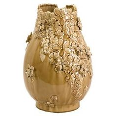 Bring contemporary flair to your home with this eye-catching design, artfully crafted for lasting appeal.Product: Vase  Construction Material: Ceramic   Color: Gold   Features: Hand-applied applique  Dimensions: Small: 11.25 H x 9.75 DiameterLarge: 14.75 H x 10 Diameter