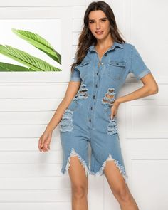 Distressed Denim Button Front Cutout Raw Hem Short Playsuit Romper, the new jumpsuits and rompers collection is extremely complex and bold, stylish and chic. Package Contains one piece of jumpsuit Size Fits Available for women. True to size. Place order base on size chart will be better.XS, S, M, L, XL Color blue Patte Short Playsuit, Playsuit Romper, Bodycon Jumpsuit, Jumpsuit Style, Daily Wear, Distressed Denim, Going Out, One Piece, Rompers