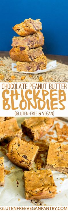 Chocolate Peanut Butter Chickpea Blondies - Vegan + Gluten-free | glutenfreeveganpantry.com