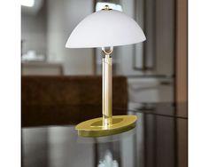 Wofi Newton 2 Light Switched Table Lamp, Matt Brass Finish With White Glass Shade - - Wofi Lighting - Wofi Table Lamps Verona, Bristol, Led, Light Fittings, Outdoor Lighting, Indoor Outdoor, Table Lamp, Design, Home Decor