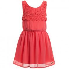 Mayoral - Coral Pink Dress with Lace Top | Childrensalon