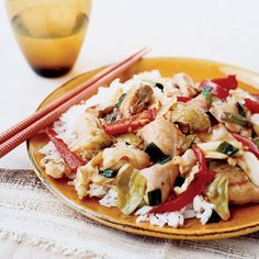 (Omit rice and oil; use tamari and arrowroot) Chicken and Cabbage Stir Fry: This fast, healthful stir-fry showcases succulent chunks of boneless, skinless chicken thighs and crisp-tender vegetables in a mild ginger sauce.