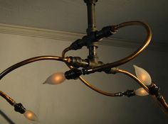 Chaos, reclaimed copper chandelier steampunk light
