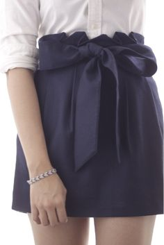 Navy Skirt with Bow w/ white button down