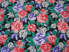 Vintage Fabric Red & Purple Roses  1 YARD 19 by #DesignsByMistyT, $12.60