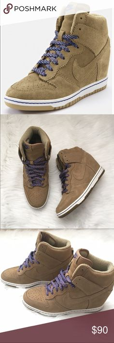 """Nike Dunk Sky High Wedge Sneaker Practically new. Suede upper. Rubber sole. Comes with brand new Nike tan shoe laces (same ones that came in the box when purchased). 2.6"""" hidden wedge heel. No trades. Fits true to size Nike Shoes Sneakers"""