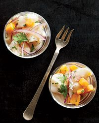 This authentic Peruvian scallop ceviche is made with aji limo paste, a Peruvian ceviche staple made from tiny aji chiles and sweet potatoes.