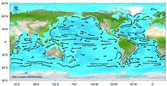 This illustration shows the major ocean currents throughout the globe. Ocean currents act as conveyer belts of warm and cold water, sending heat toward the polar regions and helping tropical areas cool off, thus influencing both weather and climate. Ocean Properties, Major Oceans, Water Issues, Ocean Current, Under The Ocean, Earth Science, High School, Weather, World