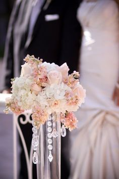 drop crystals and pink reception wedding flowers,  wedding decor, wedding flower centerpiece, wedding flower arrangement, add pic source on comment and we will update it. www.myfloweraffair.com can create this beautiful wedding flower look.