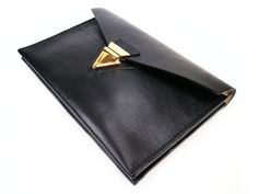 Black Leather Envelope Clutch with Art Deco Gold Lock