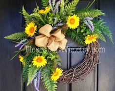 Spring Wreath for Front Door Monogram Wreaths by FleursDeLaVie