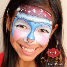 25 Days of Christmas Face Painting. A Christmas penguin - Color Me Face Painting
