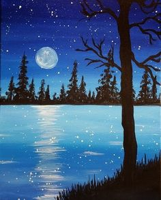 Beginners learn to paint acrylic Aurora Borealis landscape Anfänger lernen, Acryl zu malen Aurora Borealis Landschaft Paint Nite. We organize painting events in local bars. Join us for a Paint Nite Party! Lake Painting, Easy Canvas Painting, Simple Acrylic Paintings, Winter Painting, Acrylic Canvas, Art Paintings, Moonlight Painting, Canvas Art, Painting Portraits