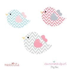 Chevron cute birds clip art.