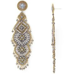 Miguel Ases Beaded Chandelier Drop Earrings