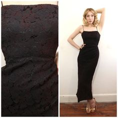 1950s Navy Lace Bombshell Wiggle Dress by AtypicalGirlVintage