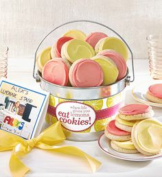 Alex's Lemonade Stand Buttercream Pail | Gifts for Kids | Cheryls.com | Our shiny silver pail is overflowing with a delicious combination of our buttercream frosted strawberry sugar and lemon burst cookies. Perfect for any occasion!