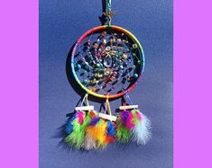 Stunning Rainbow Beaded Dreamcatcher, with central Suncatcher. Adorned with little bells, glass & acrylic beads. Believe In Magic, Acrylic Beads, Suncatchers, Dream Catcher, Feather, Wings, Rainbow, Beautiful, Etsy