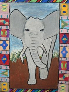 a faithful attempt - Nice lesson that combines culture (Ndebele art) and drawing of African animal of student's choice.  Oil pastels were used for this project.  Like the mix of geometric with organic.
