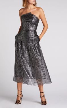 Saranda Sleeveless Cocktail Dress in Metallic Gunmetal Strapless Dress Formal, Formal Dresses, Flare Skirt, Formal Wear, Corset, Neckline, Glam Style, Glamour, Roland Mouret