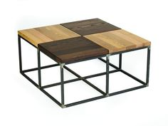 36L x 36W x 18H Quad Cocktail Shown in Reclaimed Oak. Metal finish in Natural Steel.