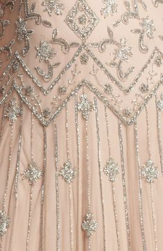Pisarro Nights Pink Beaded Mesh Gown (details)