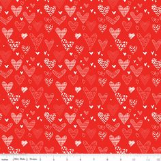 Red White Hearts Fabric, C10051-RED, From the Heart, Valentine's Day Quilting Cotton Apparel Fabric, Riley Blake, 1 Yard Cut Bty by Jambearies on Etsy