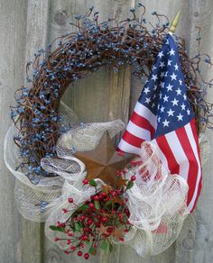 American Flag 4th of July Traditional Berry Wreath by NewEnglandWreath
