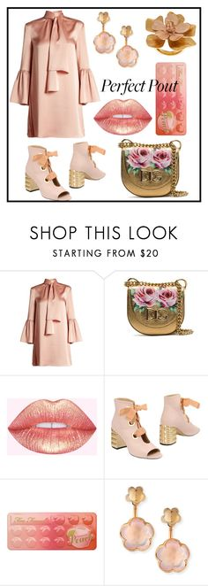 """""""#25 She's a Peach. Golden & Peachy"""" by natahaya ❤ liked on Polyvore featuring Fendi, Dolce&Gabbana, Stephen Good London, Too Faced Cosmetics, Pasquale Bruni, Oscar de la Renta, contest, gold, peach and peachlipstick"""