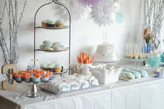 Frozen themed birthday party with Such Cute Ideas via Kara's Party Ideas   But who eats this much sweets?!? So many kids parties are like this.