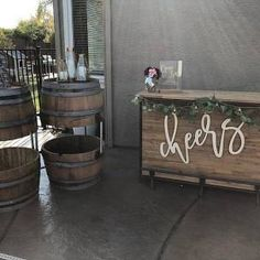 """Our popular """"Cheers"""" wood sign. This beautiful decoration can be used for any event as a photo prop, unique backdrop, hung at the bar area, head table + more. Custom Wood Signs, Wooden Signs, Wooden Bar, Wedding Party List, Diy Wedding, Wedding Ideas, Trendy Wedding, Wedding Styles, Wood Name Sign"""