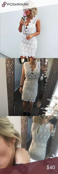 """White lace dress Gorgeous boutique white lace dress! Has a see thro lace back. I have on a regular bra in the picture. Never worn. Bought for my bridal shower but changed my mind. Size medium. I'm 5'4"""" 37"""" busy, 28"""" waist, and 40"""" hips. Normally size medium in dresses and size 8 in jeans. Lulu's Dresses"""