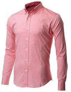 a2b193c924d2ba FLATSEVEN Men's Slim Fit Casual Oxford Button Down Shirt at Amazon Men's Clothing  store: