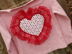 Valentines Day custom Girls lace heart tee by TOOCUTEbyJeannette, $18.00