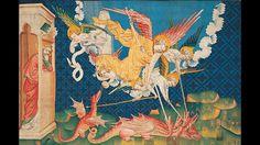 Saint Michel combat le dragon; troisième série, huitième scène, cliché inversé de l'envers, laine, 171 x 250 cm.  Présentée depuis 1954 au château d'Angers, la tenture de l'Apocalypse est le plus vaste ensemble médiéval de tapisseries créé et conservé en Occident. Un ouvrage du Centre des monuments nationaux la remet aujourd'hui sous les feux de l'actualité.