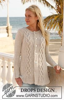 """Ravelry: Knitted jacket with cables in """"Bomull-Lin"""" pattern by DROPS design Knit Cardigan Pattern, Sweater Knitting Patterns, Knit Patterns, Drops Design, Cable Knitting, Free Knitting, Cardigans For Women, Jackets For Women, Knit Crochet"""