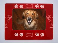 Laser-Etched Golden Retriever Magnetic Photo Frame