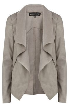 | Grey Leather Drape Blazer/ Jacket