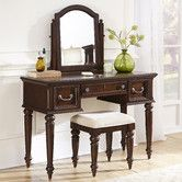 Home Styles Colonial Classic 3 Drawer Vanity and Mirror - Dark Cherry - Bedroom Vanities at Hayneedle Vanity Table Set, Vanity Set With Mirror, Vanity Stool, Colonial, Metal Wood, Picture Frame Molding, Bench Set, Online Furniture Stores, Vintage Vanity