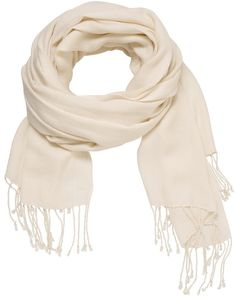 Solid Scarf Wrap With Fringe In Off White