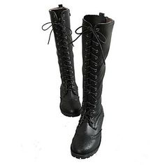 Faux Leather Women's Chunky Heel Riding Knee High Boots(More Colors) – USD $ 29.99