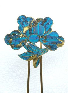 Chinese Kingfisher Feather Hair Pin with Lotus Flower Hair Comb Hair from spanishcomb on Ruby Lane