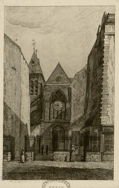 Rue Mouffetard. Eglise St Medard 1860
